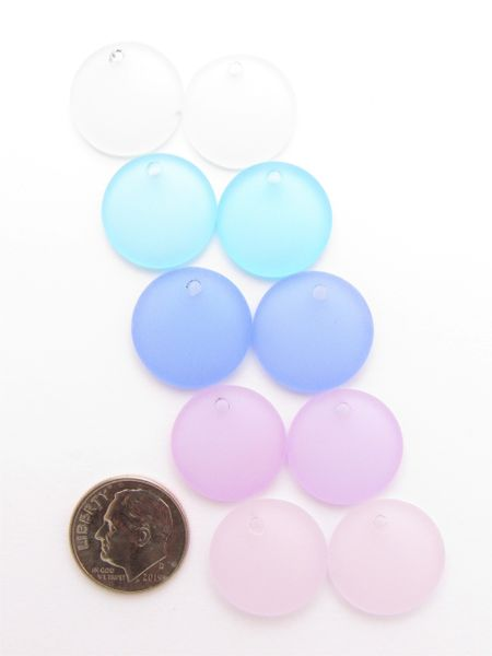 Cultured Sea Glass Pendants 18mm Coin Assorted Blue Pink Purple Concave Top Drilled for making jewelry