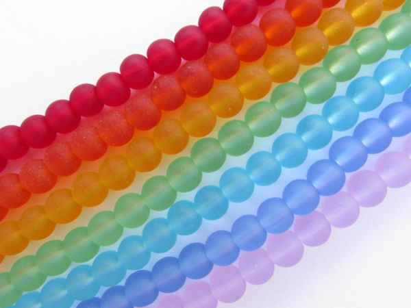 Cultured Sea Glass BEADS 6mm round light rainbow 7 strands assorted for making jewelry pride colors