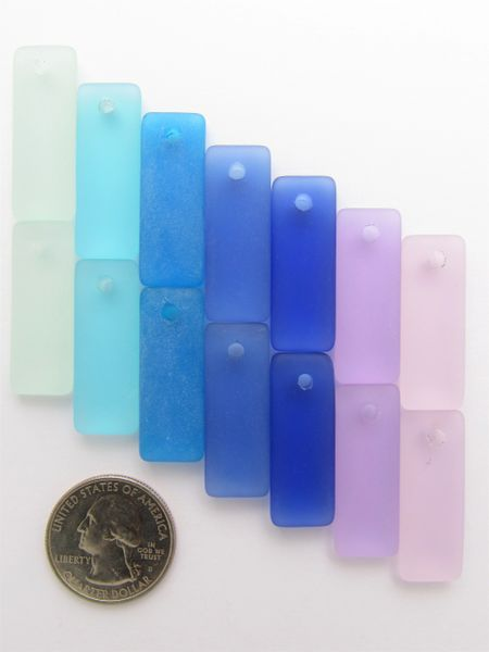 Sea Glass PENDANTS 32x12mm mixed colors Blue Purple 7 pairs puffed rectangle