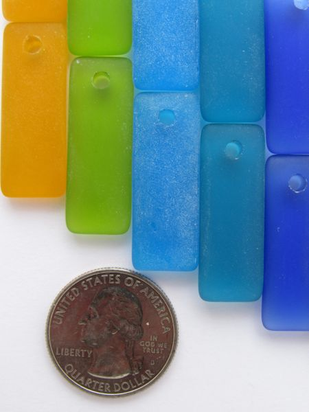 Sea Glass PENDANTS 32x12mm assorted 7 pairs puffed rectangle bold colors