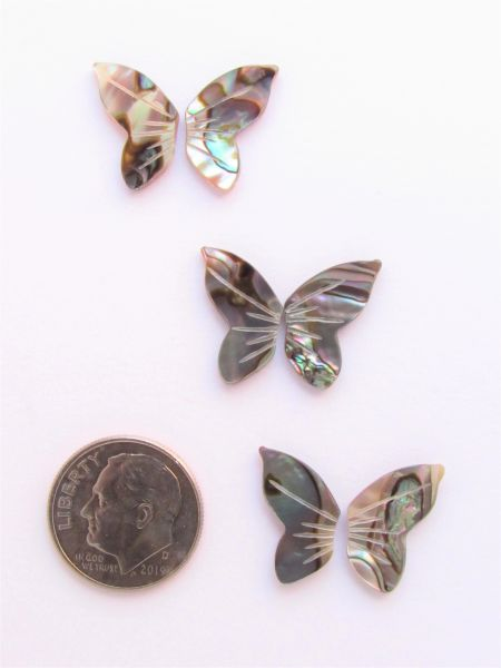 Abalone CABS BUTTERFLY WINGS Undrilled 3 sets 15.5x10mm Pairs Right & Left Shell flat back