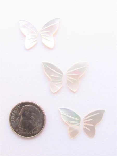 Mother of Pearl CABS BUTTERFLY WINGS Undrilled 3 sets 15.5x10mm Pairs Right & Left Shell flat back