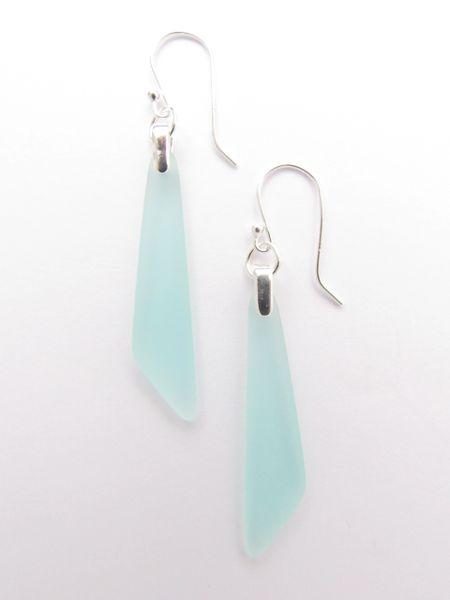 """Sea Glass EARRINGS Sterling Silver light aqua like Coke bottle glass Dangle Earwires 2 1/4"""" long drop frosted beach glass jewelry"""