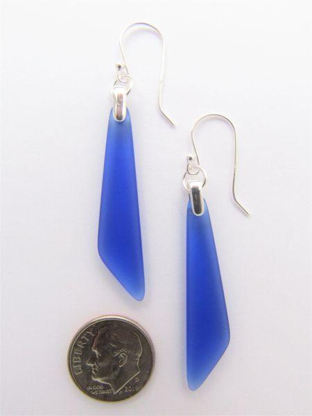 "Sea Glass EARRINGS Sterling Silver Cobalt Blue Dangle Earwires 2 1/4"" long drop frosted beach glass jewelry"