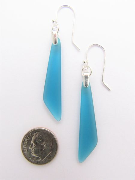 "Sea Glass EARRINGS Sterling Silver Dangle Drop teal marine blue Earwires 2 1/4"" long drop frosted beach glass jewelry"