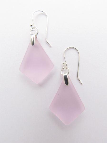Handmade EARRINGS Sterling Silver Teardop Blossom Pink sea glass