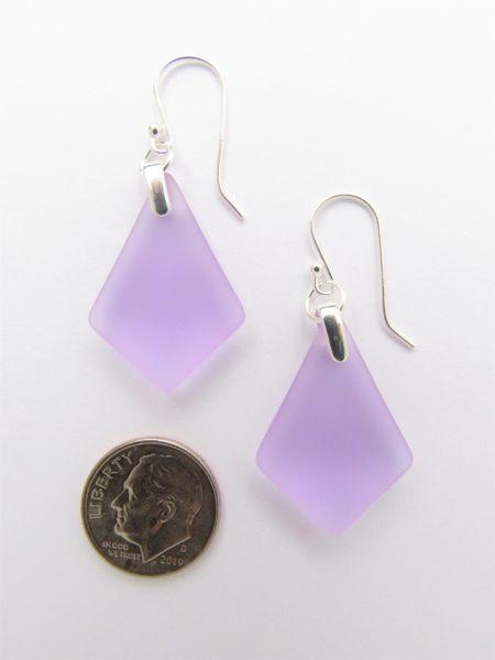 Sea Glass EARRINGS Sterling Silver Teardop light purple frosted glass jewelry