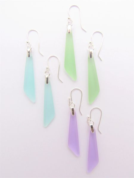 Sea Glass EARRINGS 3 Pair Sterling Silver assorted long dangle triangle pendant frosted glass jewelry