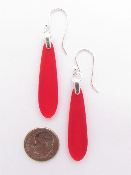 Sea Glass EARRINGS Red Pendant Sterling Silver long teardrop Beach glass jewelry