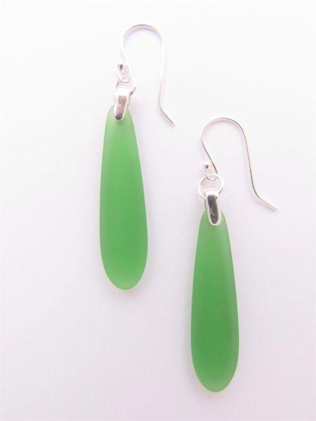 Sea Glass EARRINGS Medium Green Pendant Sterling Silver long teardrop Beach glass jewelry