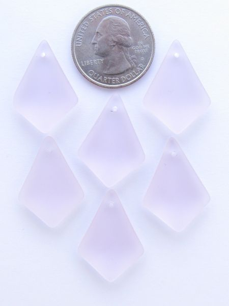 Sea Glass PENDANTS Diamond 28x20mm Blossom Pink Top Drilled pendant for jewelry making supply