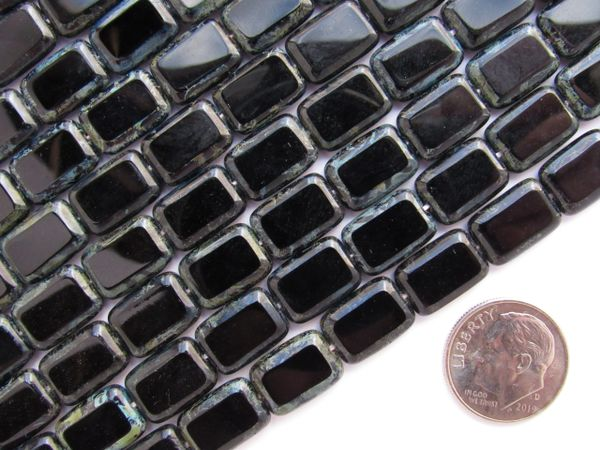 CZECH Glass BEADS Table cuts Window bead Rectangle 12x8mm Jet Black Picasso