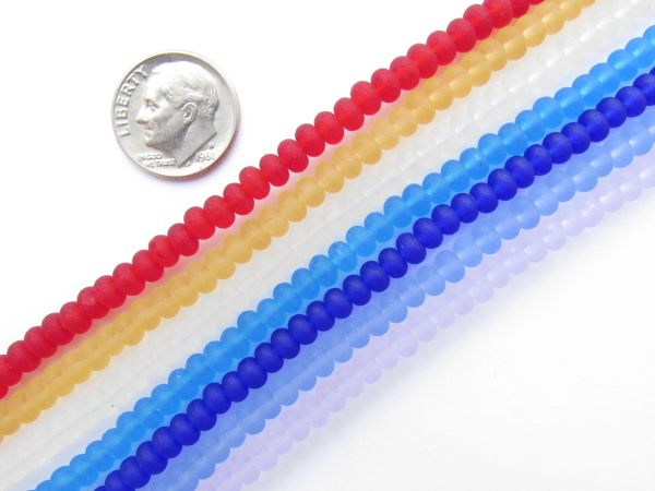 4mm Cultured Sea Glass BEADS 7 Strand color assortment rondelle spacer accent bead
