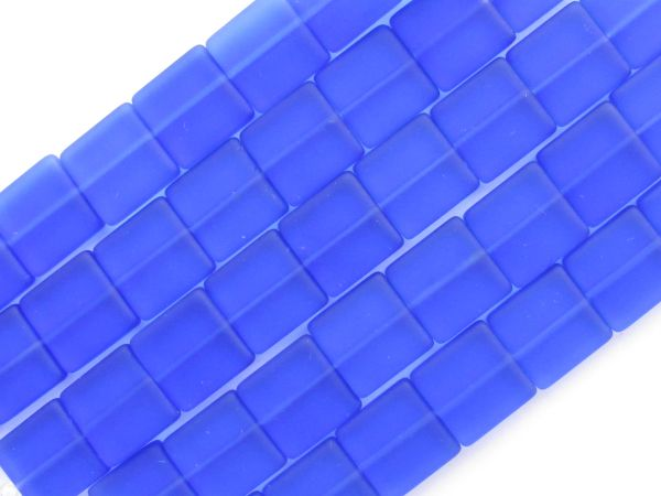 Bead Supply Cultured Sea Glass BEADS 12mm Square Cobalt Blue Flat length drilled bead for making jewelry