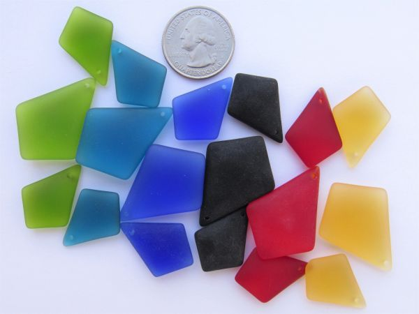 Bead Supplies - Sea Glass Pendant 3 pc Sets for making jewelry Bold Colors Diamond shape pendants