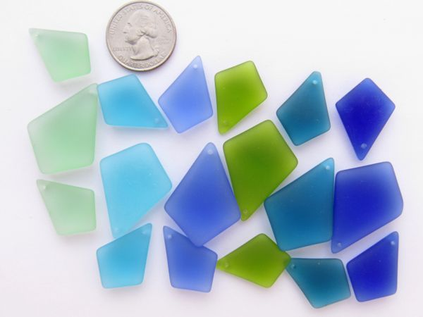 Jewlery making Supplies - frosted glass beads Sea Glass Pendants 3 pc Sets blue green Colors Diamond shape pendants