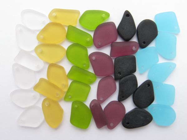 36 pc Cultured Sea Glass PENDANTS Flat freeform 15mm Assorted Colors