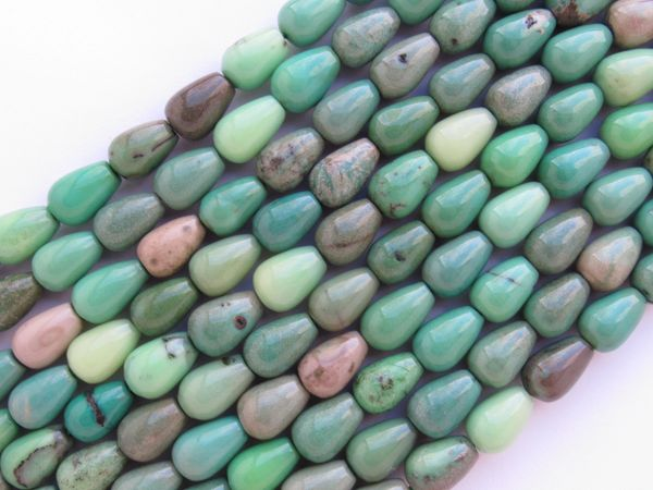 Green Chrysoprase BEAD Supply 12x8mm teardrop length drilled opaque gemstone bead supply for making jewelry