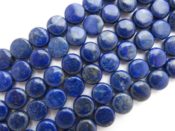 Bead Supplies - Natural LAPIS Lazuli BEADS 12mm COIN Blue gemstone Strand