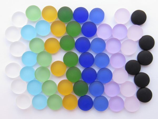 Jewelry making Supplies - Glass CABS Undrilled 12mm Assorted Colors Clear Blue Purple Pink Cabachons Flat Bottom NOT Drilled