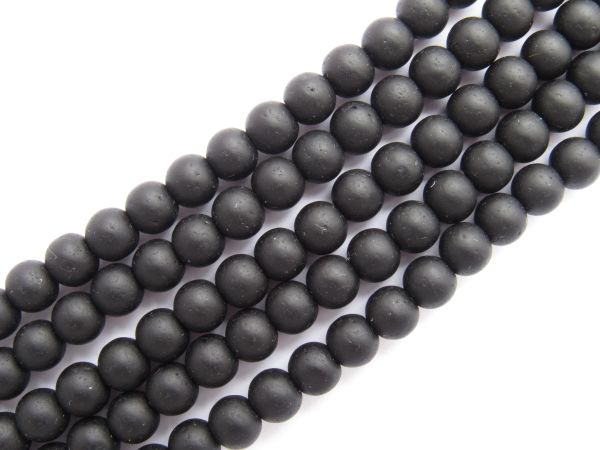Bead Supplies Cultured Sea Glass BEADS 6mm Round Opaque Black frosted glass