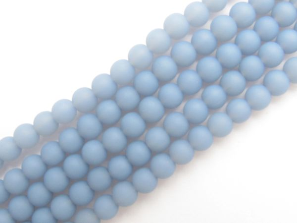 Bead Supplies Cultured Sea Glass BEADS Opaque Sky Blue 6mm Round Strand or Hank