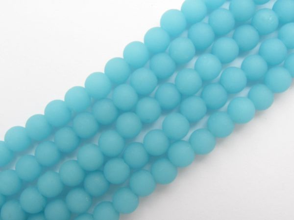 Bead Supply - Cultured Sea Glass BEADS 6mm Round Opaque Blue Opal frosted matte finish glass