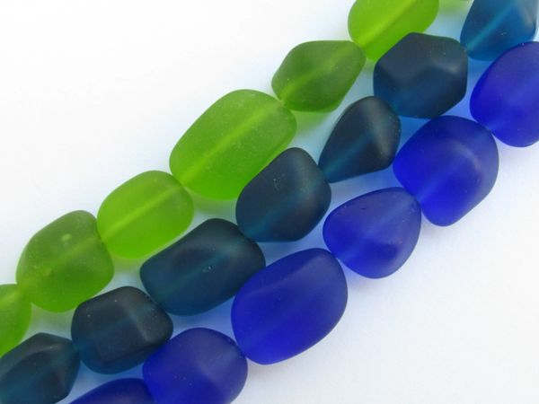 Cultured Sea Glass BEADS for making jewelry Freeform 13-15mm Nugget Dark Blue Green strands lot