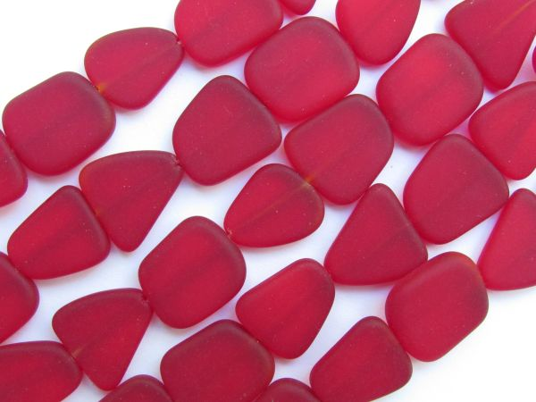 Bead Supply Cultured Sea Glass BEADS 15mm flat freeform Cherry Red length drilled frosted transparent