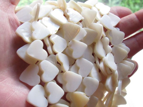 Jewelry Supplies HEART BEADS 13mm side drilled Natural White Shell
