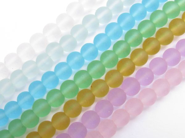 Bead Supplies Cultured Sea Glass BEADS 6mm Round frosted transparent Assorted 8 strand lot