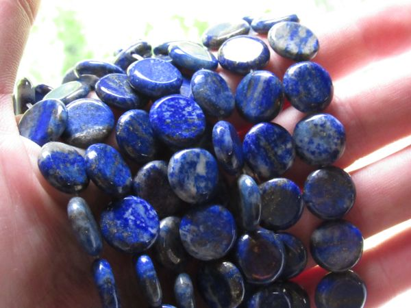 Jewelry making Supplies - Natural LAPIS Lazuli BEADS 12mm COIN Bead Supply