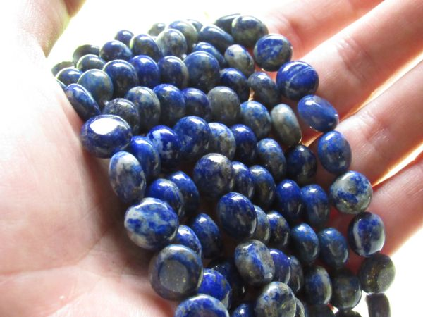 Jewelry making Supplies Natural LAPIS Lazuli BEADS 10mm COIN with inclusions