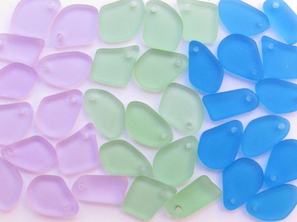 Cultured Sea Glass PENDANTS for making jewelry 15mm flat frosted free form Top Drilled Blue Green Purple