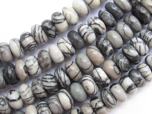 Jewelry making Supplies BLACK WEBBED JASPER BEADS 10x5mm rondelles Smooth Polished gemstone beads