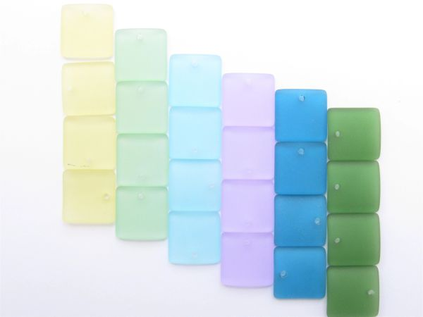 Jewelry Supplies Cultured Sea Glass PENDANTS 19mm Square 24 pc Assorted Top Drilled beads lot