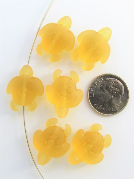 Jewelry Supply Cultured Sea Glass TURTLE BEADS 20x15mm Desert Gold transparent frosted