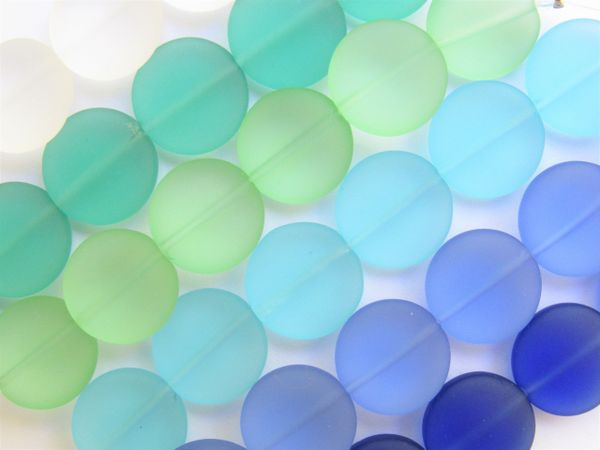 Jewelry Supplies Cultured Sea Glass BEADS flat round 6 assorted strands frosted beads for making jewelry