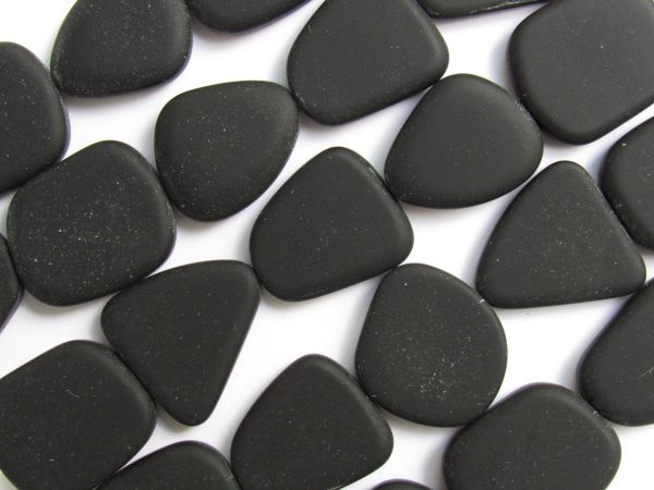 Cultured Sea Glass BEADS 22-24mm flat Freeform Opaque Black frosted glass for making seaglass jewelry