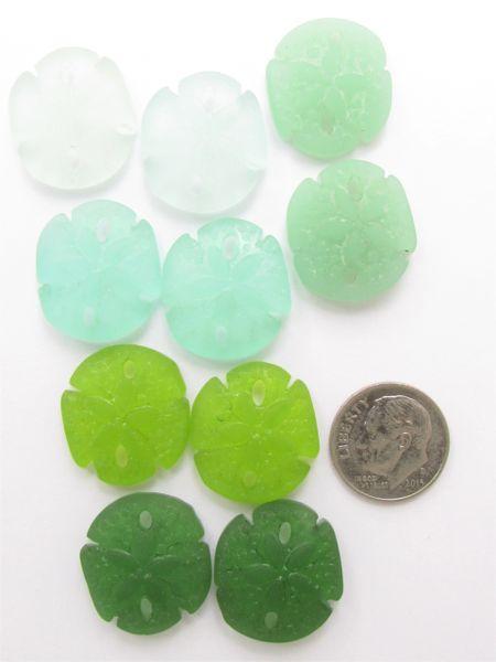 Cultured Sea Glass Pendants Sand Dollar 21x19mm 5 Pair Assorted Green making sea glass jewelry