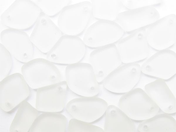 Bead Supplies Cultured Sea Glass PENDANTS 15mm Crystal Clear Top Drilled Flat Freeform frosted beads for making jewelry