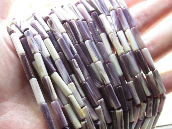 """Bead Supply Wampum BEADS 4x14mm tube beads Natural Purple Shell 15.5"""" Strand 28 pc Genuine Quahog USA Hard to Find for making jewelry"""