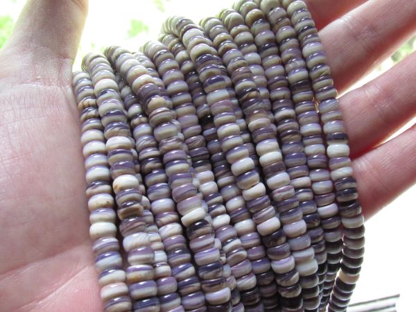 Wampum BEADS Quahog Purple Shell USA 6mm Rondelles 122 pc Strand Genuine Natural Mercendaria