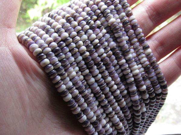 Wampum BEADS Quahog Purple Shell USA 4mm Rondelle Genuine Natural Mercendaria for making jewelry