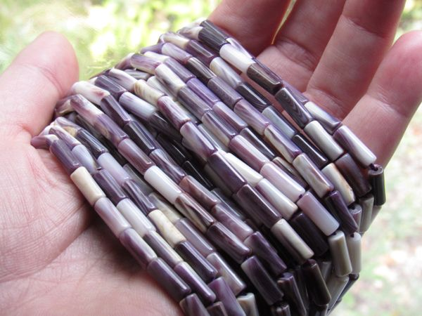 Bead Supplies Wampum BEADS 4x10mm tube beads Natural Purple Shell Genuine Quahog USA for making jewelry