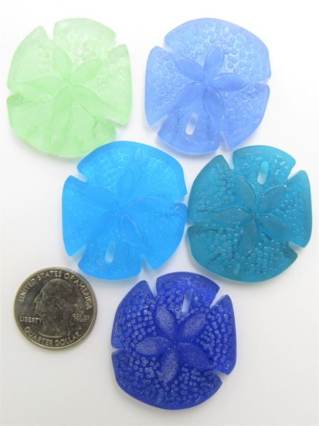 Jewelry making Supplies Cultured Sea Glass PENDANTS 40x36mm Large Sand Dollar Assorted 5 pc necklace pendant lot