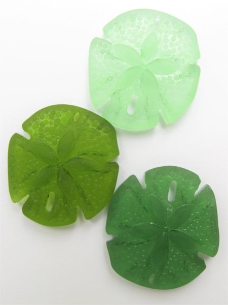 Bead Supply Sand Dollar PENDANTS 40x36mm Large Sand Dollar Assorted Green Cultured Sea Glass 3 pc necklace pendant lot