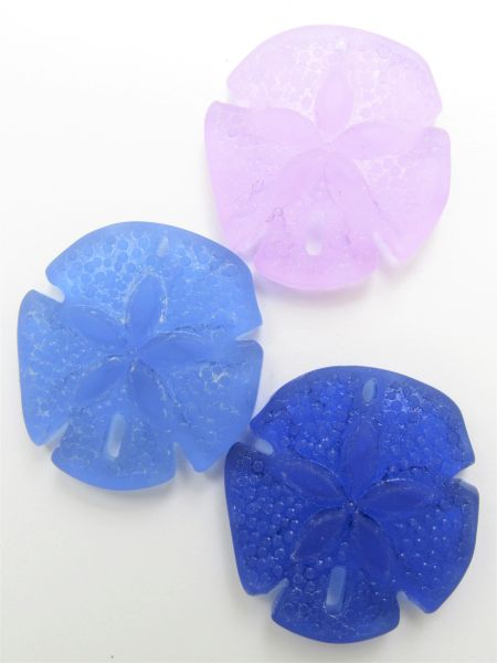 Cultured Sea Glass Sand Dollar PENDANTS 40x36mm Large Assorted 3 pc necklace pendant lot