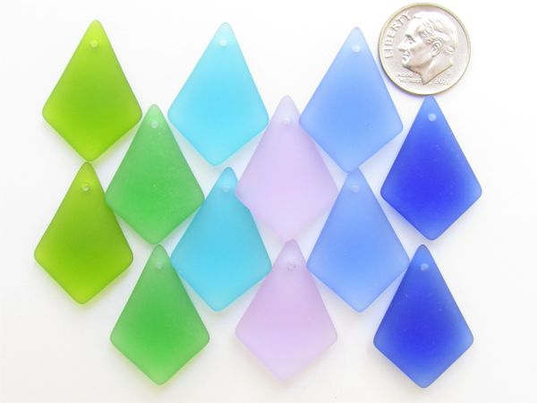 Bead Supply Cultured Sea Glass PENDANTS 28x20mm assorted pairs Top Drilled for making jewelry
