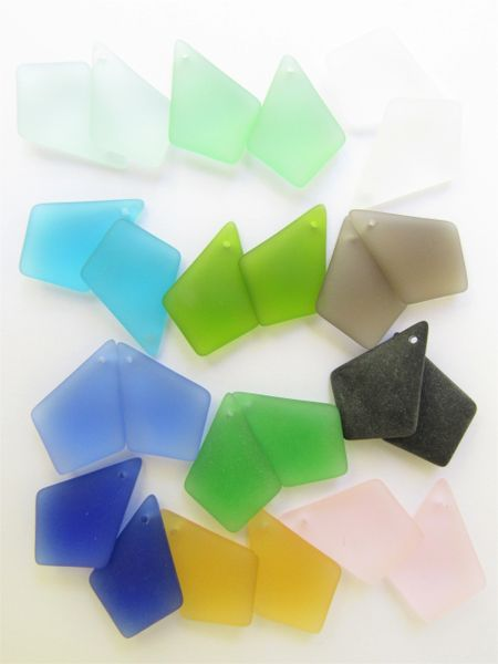 Bead Supplies 24 pc Cultured Sea Glass PENDANTS 28x20mm assorted pairs Top Drilled for making jewelry